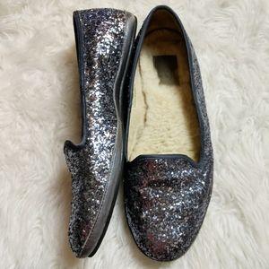 UGG Blue Silver Glitter Sequin Flat sz 8.5